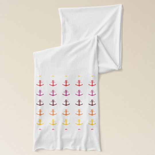 Colourful anchor pattern scarf wrap