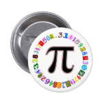 Colourful and Fun Circle of Pi Calculated 2 Inch Round Button