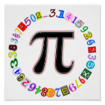 Colourful and Fun Circle of Pi Poster