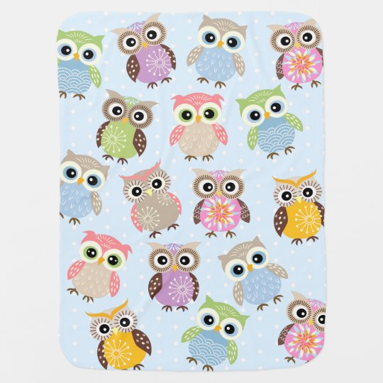 Colourful and Fun Owls in Baby Blue Baby Blanket