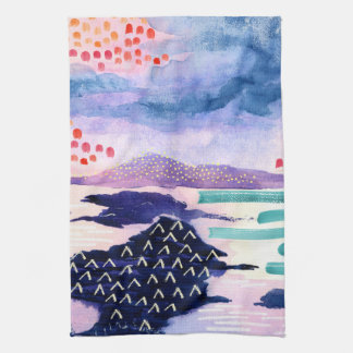 Colourful and Fun Watercolour Painting Tea Towel