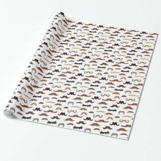 Colourful and Trendy Assorted Moustaches Pattern Wrapping Paper