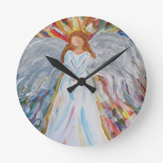 Colourful Angel Round Clock