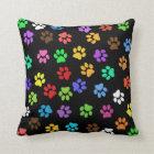 Colourful Animal Footprints Throw Pillow