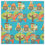 Colourful Animal Train Fabric