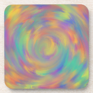 Colourful Aqua Blue Abstract Art Painting Design Coaster