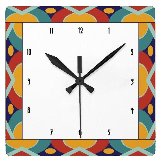 Colourful art deco border square wall clock