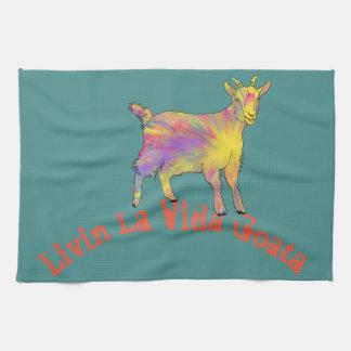 Colourful Art Goat Standing on Livin La Vida Goata Kitchen Towel