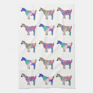 Colourful Artsy Goats Standing on Things Design Kitchen Towel