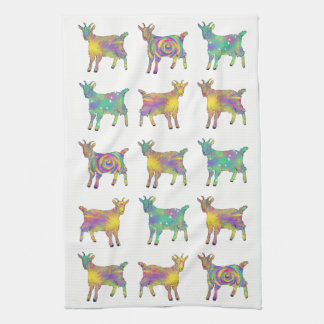 Colourful Artsy Goats Standing on Things Design Towel