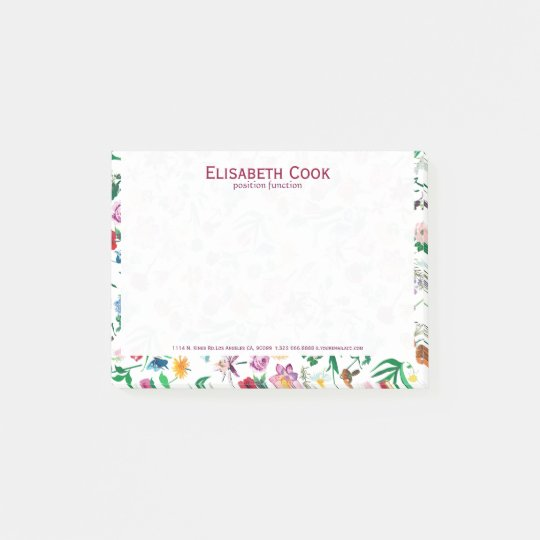 Colourful Assorted Flowers Custom White Background Post-it Notes
