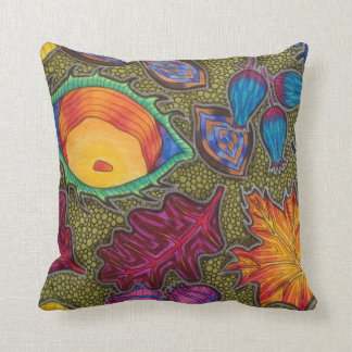 Colourful Autumn Fall seeds and leaves Throw Pillow
