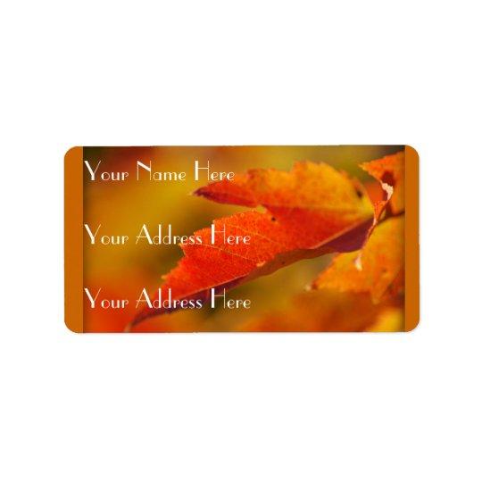 Colourful Autumn Leaves Label