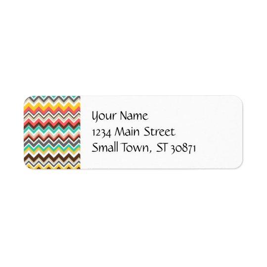 Colourful Aztec Tribal Chevron ZigZag Stripes Return Address Label