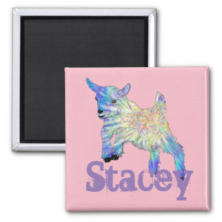 Colourful Baby Goat Jumping Design with Your Name Magnet
