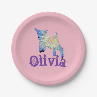Colourful Baby Goat leaping over Personalised Name 7 Inch Paper Plate