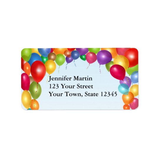 Colourful Balloon Arch Label