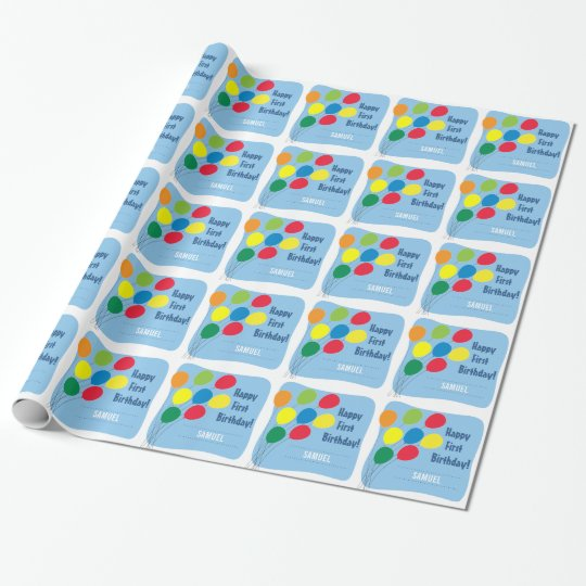Colourful Balloons Boys 1st Birthday Wrapping Paper