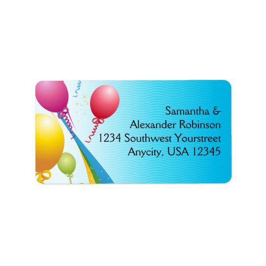 Colourful Balloons | Curly Ribbons Label