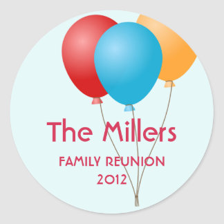 Colourful balloons family reunion party favour round sticker