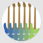 Colourful Bass Guitars Round Stickers