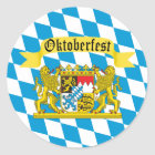 Colourful Bavarian Flag Oktoberfest Classic Round Sticker