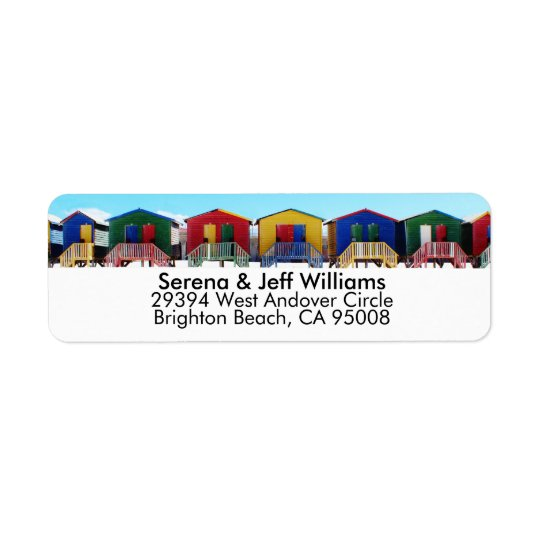 Colourful Beach House Huts Return Address Label