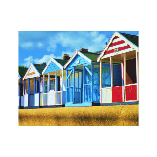 Colourful Beach huts Canvas Print