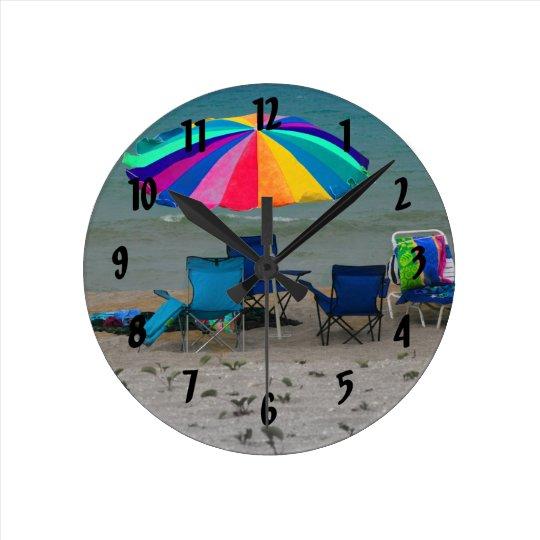 colourful beach umbrella chairs Florida scene Round Clock