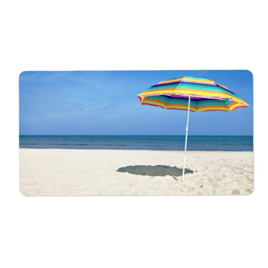 Colourful Beach Umbrella On The Sandy Beach Shipping Label