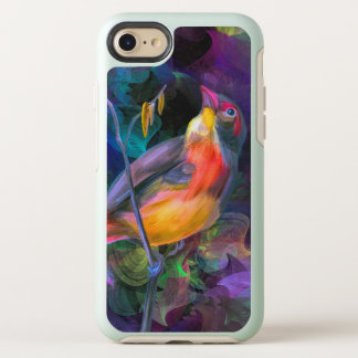 Colourful bird. Sitting on a tree branch OtterBox Symmetry iPhone 8/7 Case