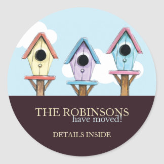 Colourful Birdhouses | New Address Announcement Classic Round Sticker