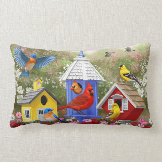 Colourful Birds and Birdhouses Lumbar Pillow