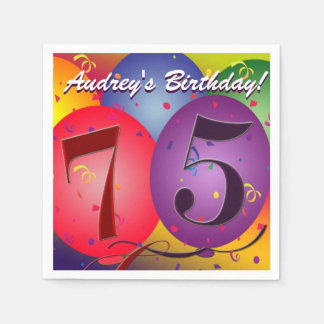 Colourful Birthday Balloons for 75th birthday! Paper Napkin