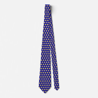 Colourful Blue and Yellow Flower Pattern Tie