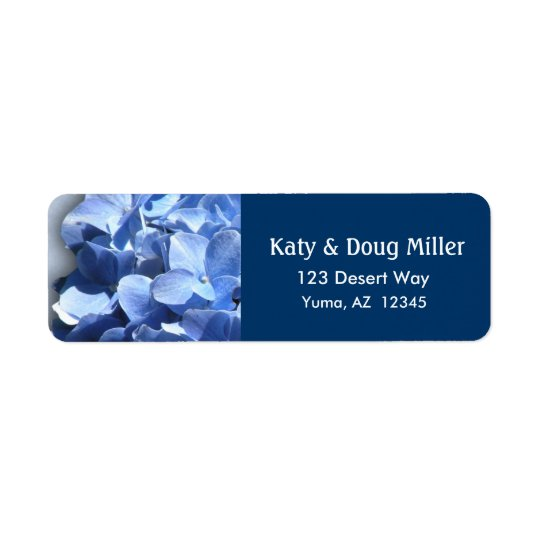 Colourful blue floral hydrangea address labels