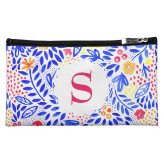 Colourful Blue Floral Personalised Cosmetics Bag