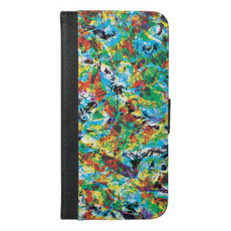 Colourful blue green spring flower pattern art iPhone 6/6s plus wallet case