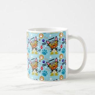 Colourful Blue Yorkshire Terriers Cartoon Coffee Mug
