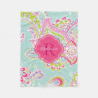 Colourful Bohemian Paisley Custom Monogram Fleece Blanket