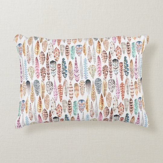 Colourful Bohemian Tribal Watercolor Feathers Accent Pillow