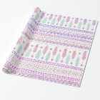 Colourful Boho Tribal Aztec Feather Arrows Pattern Wrapping Paper