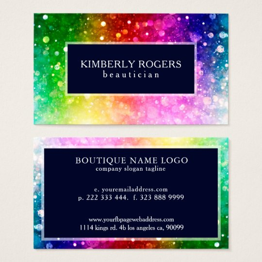 Colourful Bokeh Glitter And Sparkles Business Card