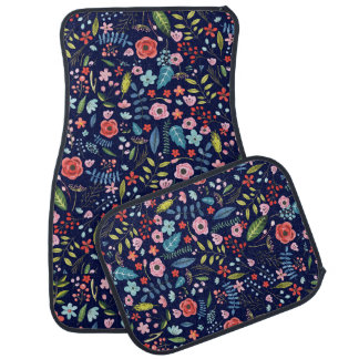 Colourful Botanical Flowers & Leafs Pattern Car Liners