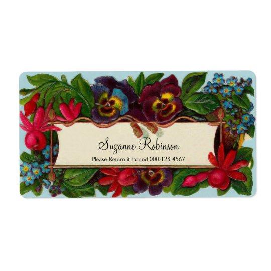 Colourful Bouquet Vintage Floral Label