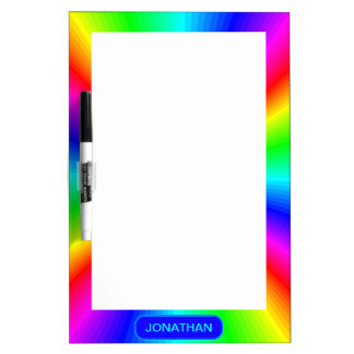 Colourful Bright Rainbow Personalize .. Dry Erase Board