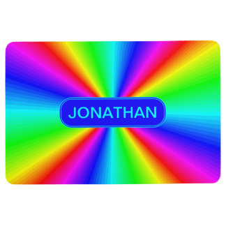 Colourful Bright Rainbow Personalize .. Floor Mat