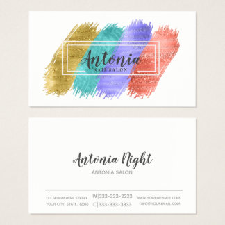 Colourful Brush Strokes and White Frame ID450 Business Card