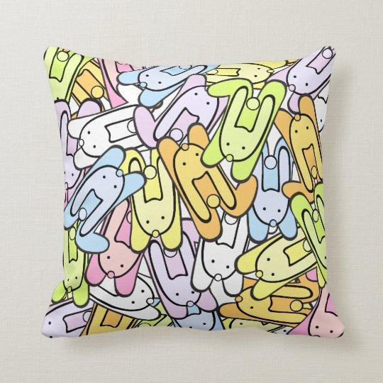 colourful bunnies throw pillow