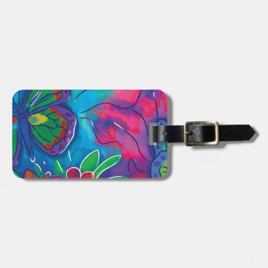 Colourful Butterfly Luggage Tag